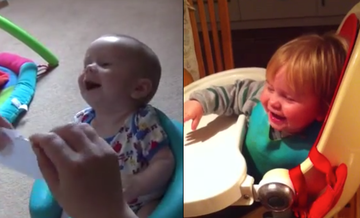 Baby Dominic laughing at 3 months and 20 months