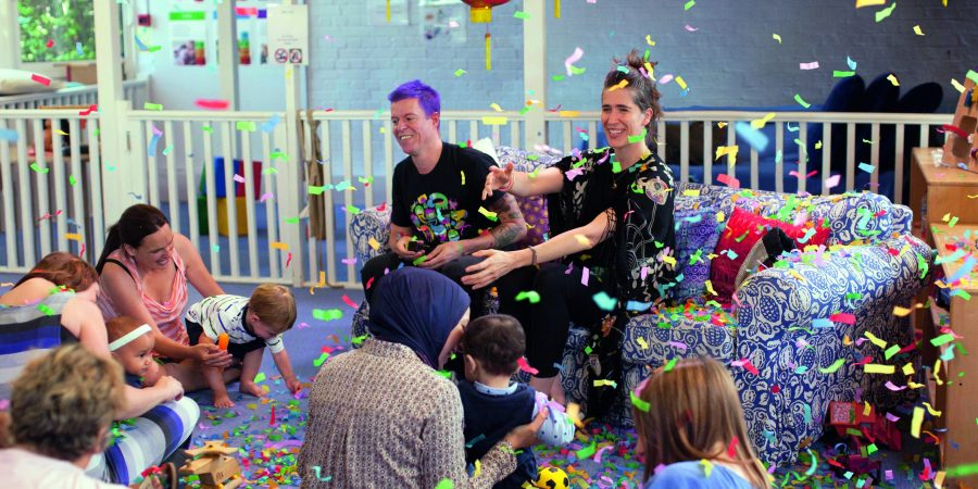Imogen Heap and Caspar Addyman playing The Happy Song to the babies who helped create it.