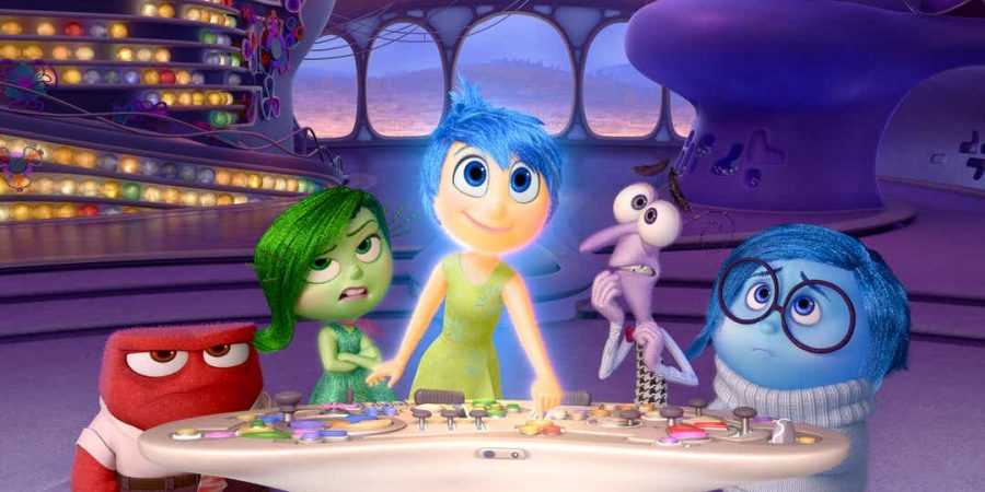 The characters Anger, Disgust, Joy, Fear and Sadness from Pixar's Inside Out