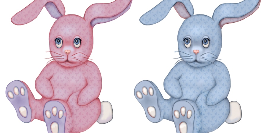 two toy bunnies one pink, one blue